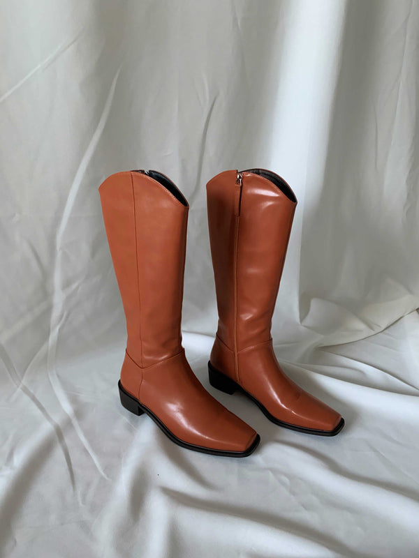 Caramel Brown Square Toe Long Boots
