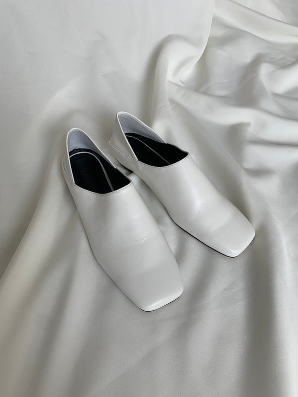 White Leather Square Toe Flats