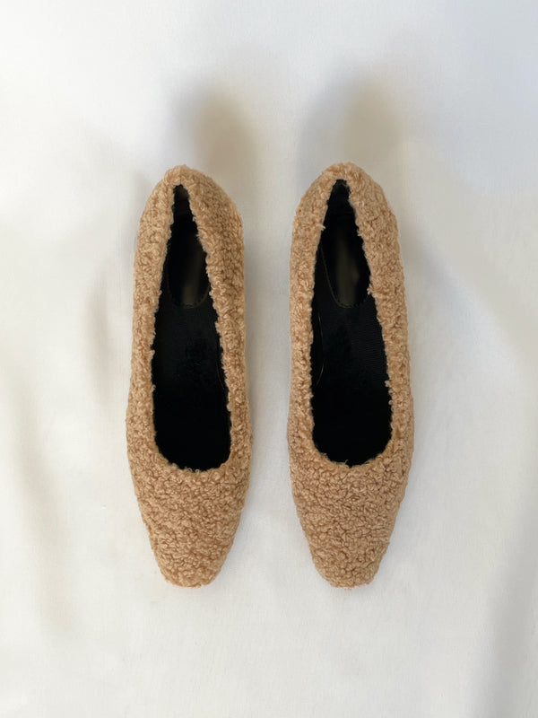 Shearling Block Heel Pumps