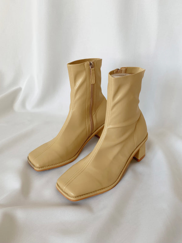 Square Toe Stretchy Ankle Boots