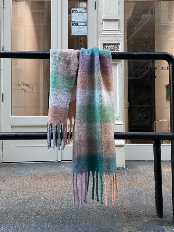 Multi Check Fluffy Knit Scarf