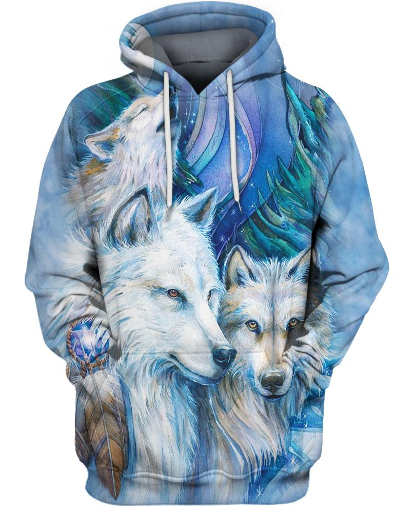 Native American Wolf Couple Blue