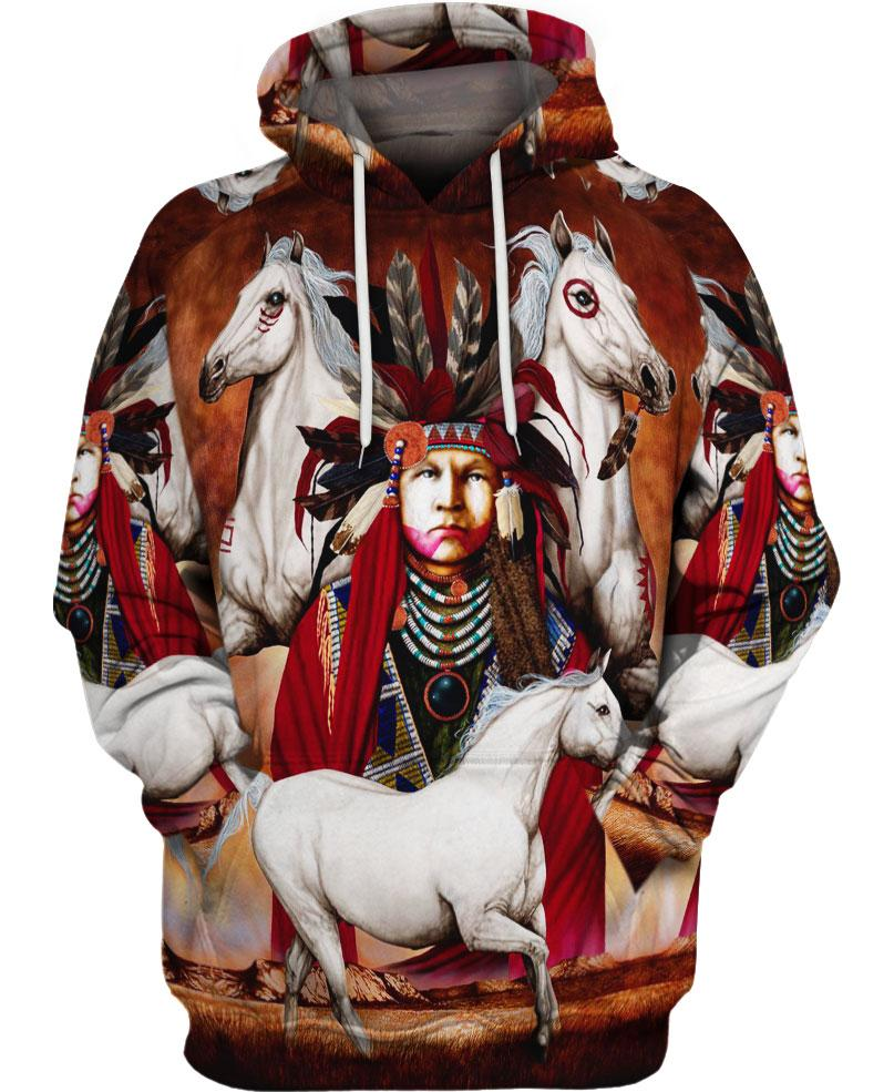 Native American Indian Chief And White Horses