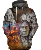 Native American Gray Old Indian Chief & Buffalo
