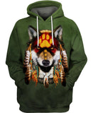 Native American Dark Green Wolf