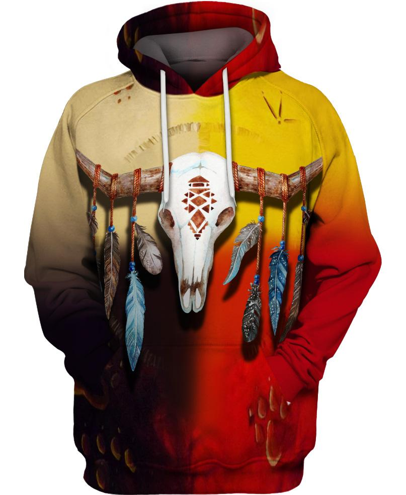 Native American Skull Colourful