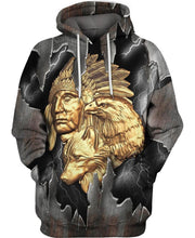 Load image into Gallery viewer, Native American Gold Indian Chief & Eagle
