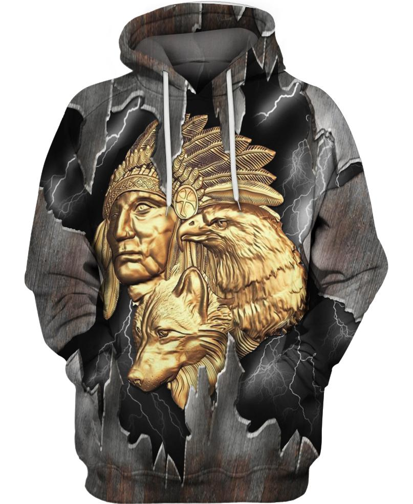 Native American Gold Indian Chief & Eagle