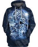 Native American Blue Indian Chief & Wolves