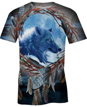 Load image into Gallery viewer, Native American Blue Single-Wolf Dream