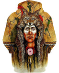 Native American Indian Chief With Tiger Hat