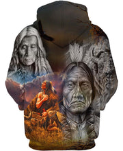 Load image into Gallery viewer, Native American Gray Old Indian Chief & Buffalo