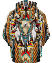 Load image into Gallery viewer, Native American Brown Blue Skull