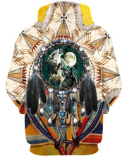 Load image into Gallery viewer, Native American Three Wolves Dreamcatcher