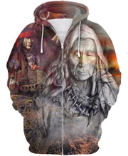 Load image into Gallery viewer, Native American Gray Old Indian Chief