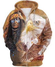 Load image into Gallery viewer, Native American Brown Indian Chief & Eagle