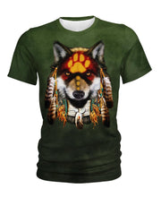 Load image into Gallery viewer, Native American Dark Green Wolf