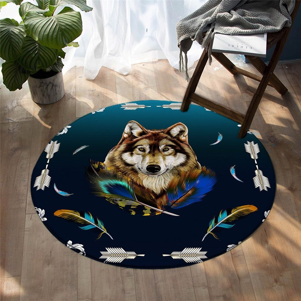 The Happy Wolf Round Carpet