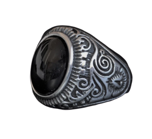 Antique Navajo Black Stone Ring
