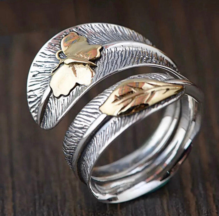 Feather and Butterfly Ring