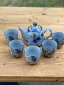 Floral Kafuh Teapot with 5 tea cups