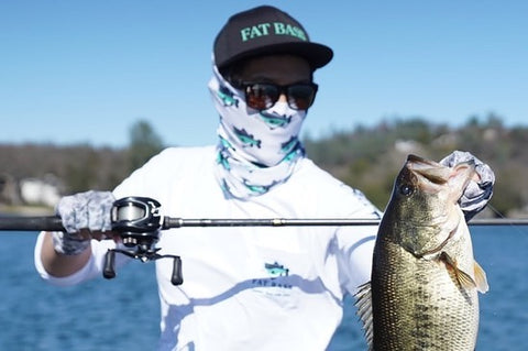 Fat Bass White Performance Shirt with two big largemouth bass