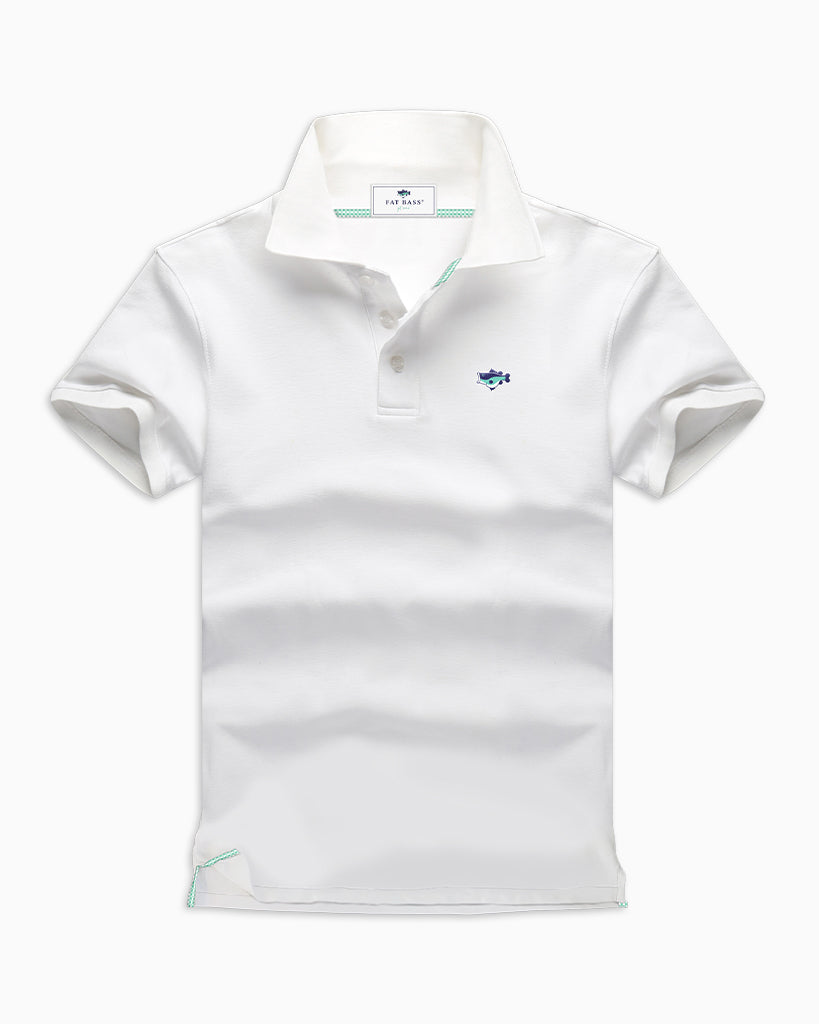 White Polo Shirts - Fat Bass