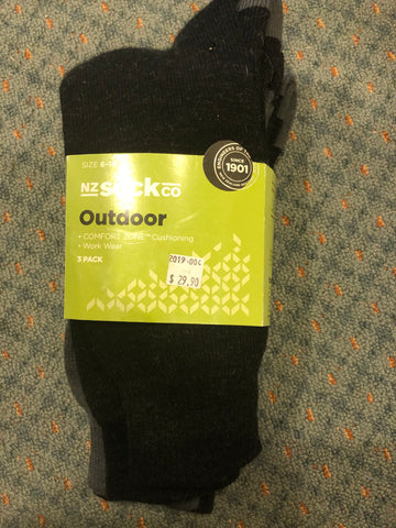NZ Sock Outdoor 3 pack Socks Comfort Zone cushioning - 2 sizes - Code F615