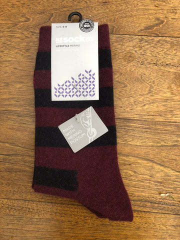 Striped Possum Jean Sock SALE - Thick & Cosy - Ladies or Mens - Durable longer lasting mix - RRP $39.90