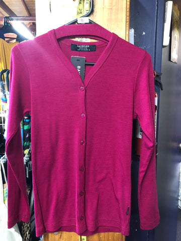 BAY ROAD NEW SEASON CERISE Ladies Midweight Buttoned Merino Cardigan New Season