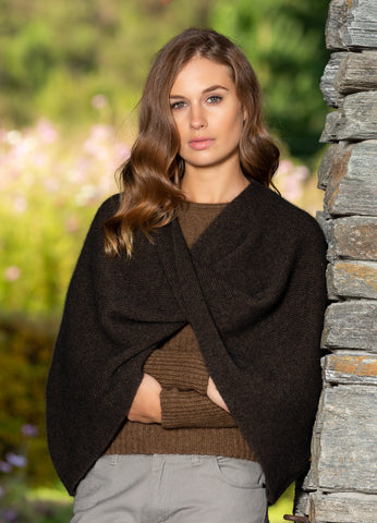 NOBLE WILDE - Crossed Shoulder Hug Merino Possum Poncho - Made in NZ