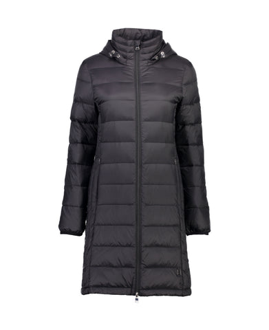 SARAH Ladies Black Long Feather Down Coat - Classic Moke Favourite!