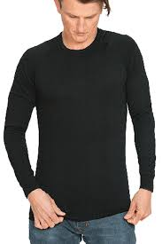 MENS NZ Made MERINO Long Sleeved Crew Black - Brass Monkeys