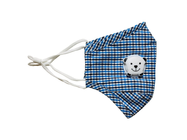 Stylish Kids Brethado Face Mask - Non-medical, Hand Made, Reusable Washable, Adjustable Ear Loops, Nose Wire, Insert Pocket, Breathing Valve