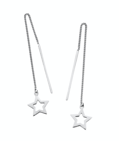 Karen Walker Star Thread Earrings, Silver