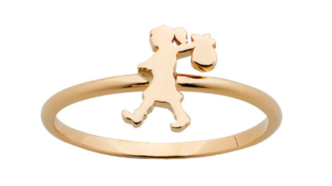 Karen Walker Mini Runaway Girl Ring, 9ct Gold