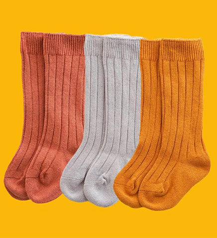 3 Pack Cute Fall Baby Newborn & Baby Long Socks High Ribbed Knitted 100% Organic Cotton Socks For Winter Ruffle Knit Christmas Stocking