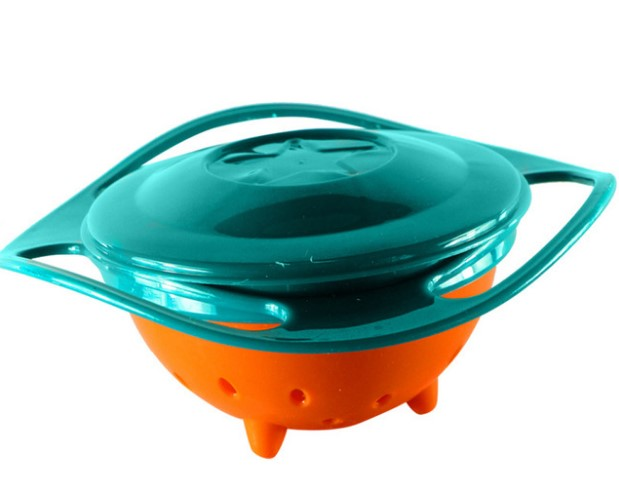 360 Degree Rotation Spill Resistant Gyro Bowl with Lid