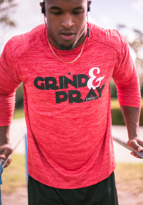 'Grind&Pray' Performance Dri-Fit Long Sleeve - DSG Apparel  - Gym Apparel DSG Apparel  - Grind and Pray