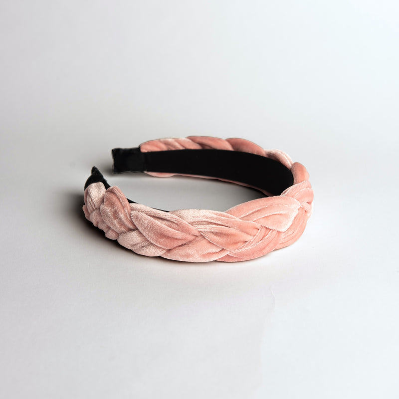 Pink Velvet Braided Headband