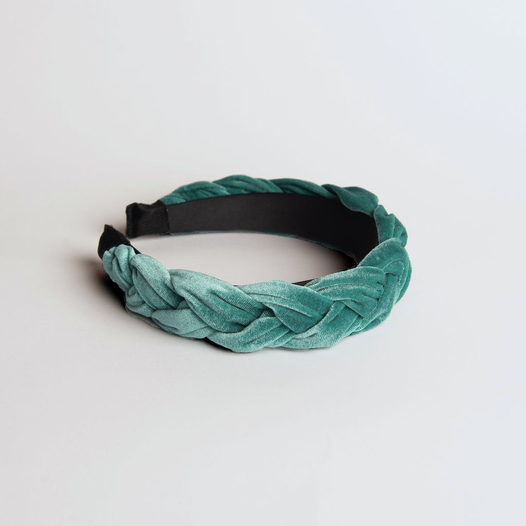 Sea Green Velvet Braided Headband