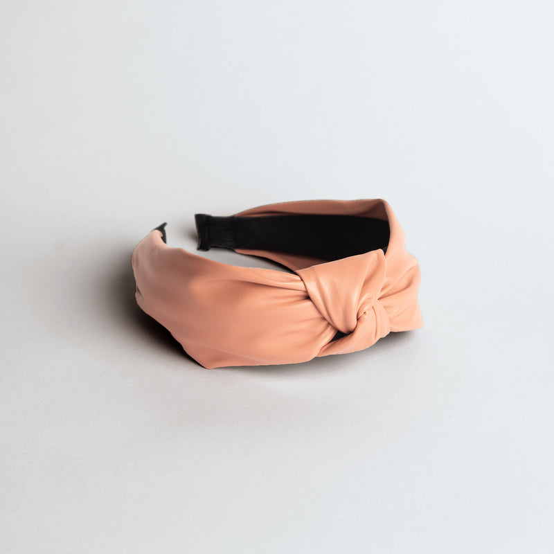 Pink Faux Leather Headband