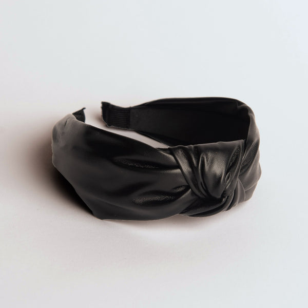 Black Faux Leather Headband