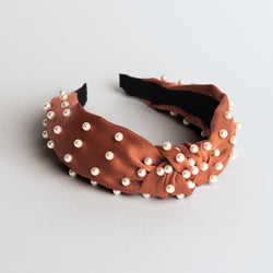 Coral Satin Knotted Pearl Headband