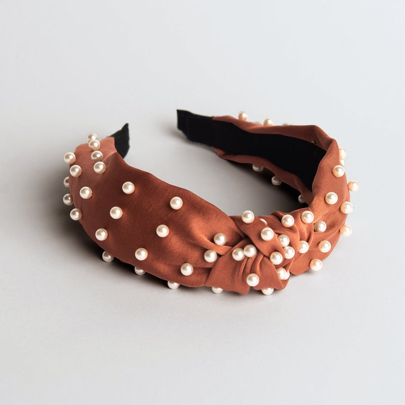 Rust Satin Knotted Pearl Headband