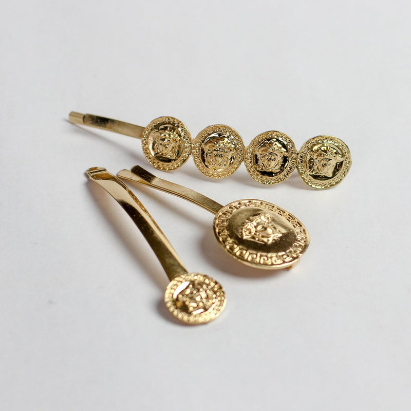 Gold Medusa Coin Pin Set