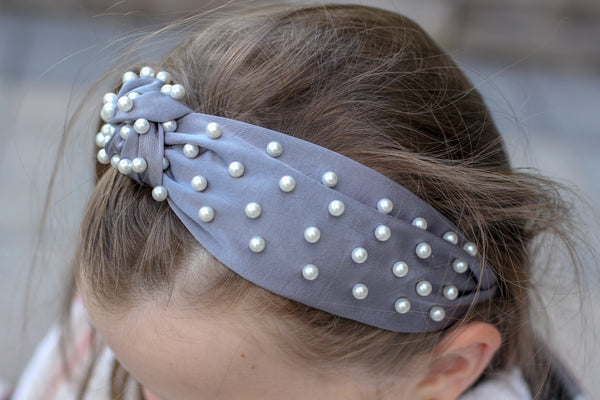 Cloud Satin Knotted Pearl Headband