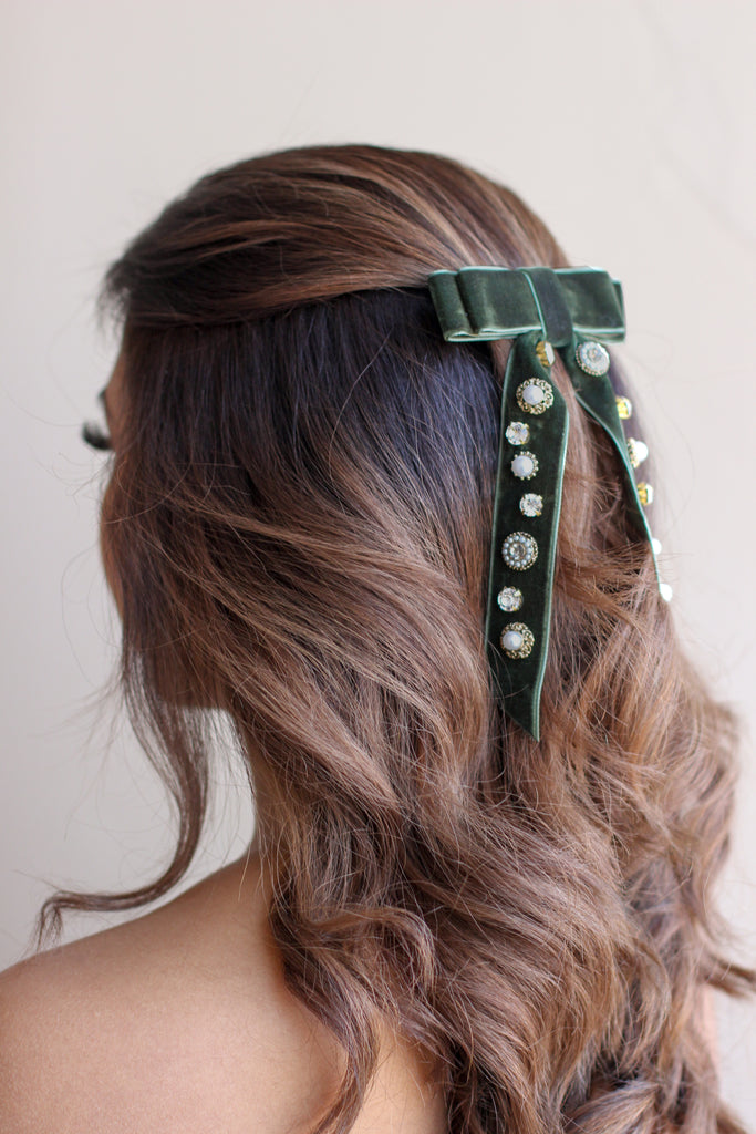 Green Velvet Jewelled Hairbow