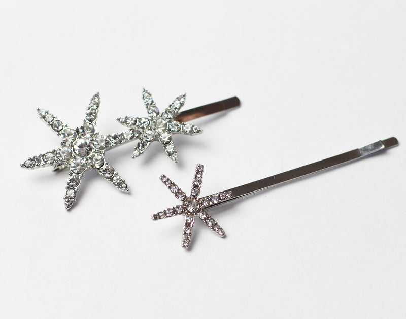 Crystal Silver Star Pins