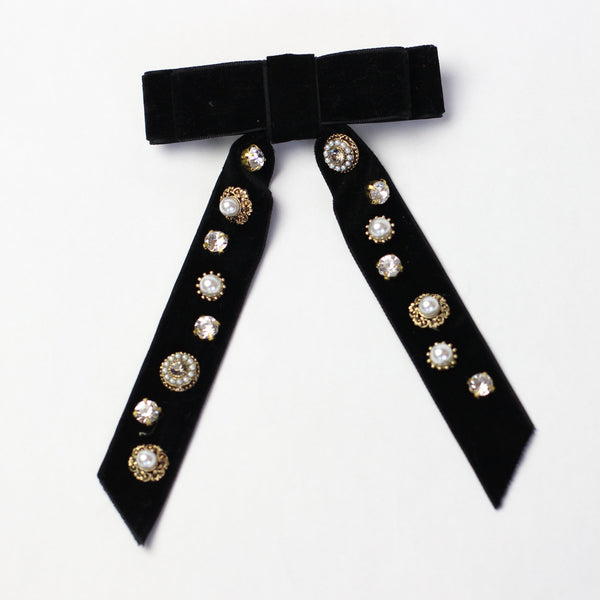 Black Velvet Jewelled Hairbow
